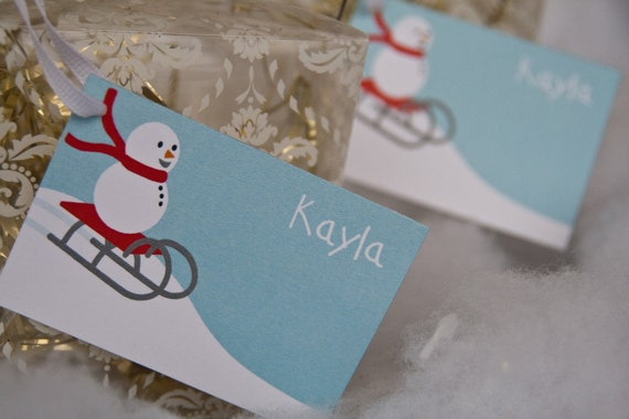 Snowman Gift Tags Holiday Gift Tags Christmas : Snowman Sledding Holiday Gift Tags set of 16  by Belleza e Luce