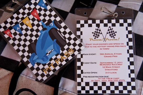 Car Pit Pass Party Invitation Grand Prix Birthday Invitation Lanyard set of 10 by Belleza e Luce