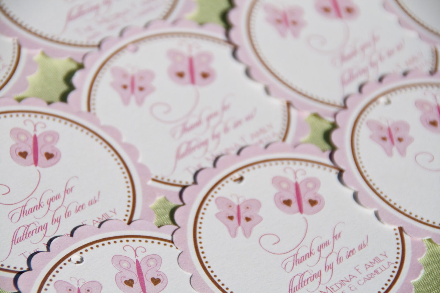 Pink butterfly favor tags butterflies baby by daniellesealsevents - Baby shower favor tags ...