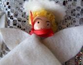 Vintage Christmas Ornaments Angels White Cloth Felt Wood Lot of Three