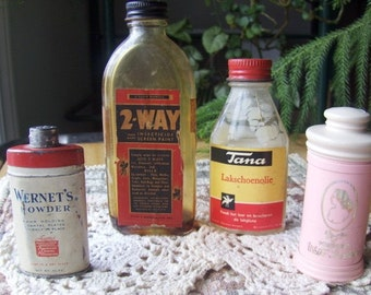 Vintage Instant Collection of Small Bottles A Tin and Evyan Perfumed Talc Four