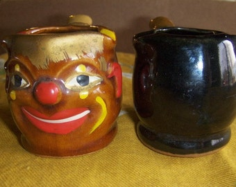 Vintage Ceramic Pipe Ashtrays/Containers One Smiling Clown One Plain Black