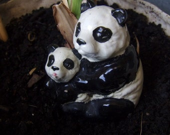 Vintage Panda Bears Porcelain  Figurine Mom and  Cub