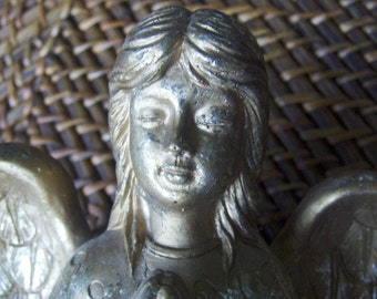 Ceramic Angel Candle Stick Holder Vintage with Sweet Face Kneeling Praying Painted Gold