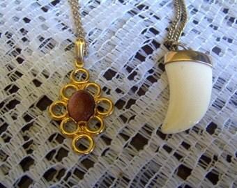 Vintage Necklace Copper Lucite Pendant