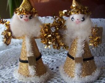 Vintage Christmas Ornaments Angels Elf Glitter Cardboard Cloth Foil Plastic Japan Lot of Seven