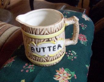 Butter Pitcher Ceramic Wood Design Vintage Japan