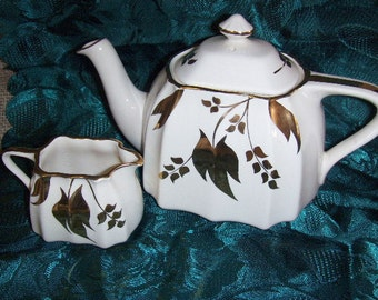 Vintage China Teapot and Creamer Gold Trim Sandland Ware by Lancaster and Sanland Hanly Staffordshire England  Numbered