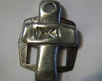 Vintage Pewter Cross Pendant Crucifix