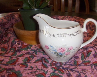 Vintage Creamer Ridgway Staffordshire Crown Special  Gold Bouquet Pattern 22 KT Gold Trim