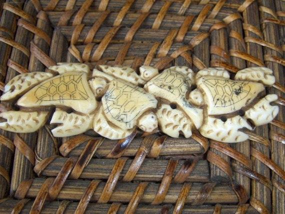 Vintage Turtle Carved Bone Cabochon Intricate Detail