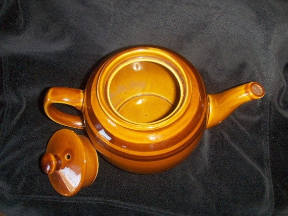Vintage Sadler Teapot Pottery Light Brown with Dark Brown Bands