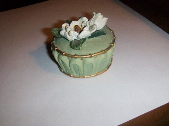 Vintage Pottery Round Lidded Dish Small Carved
