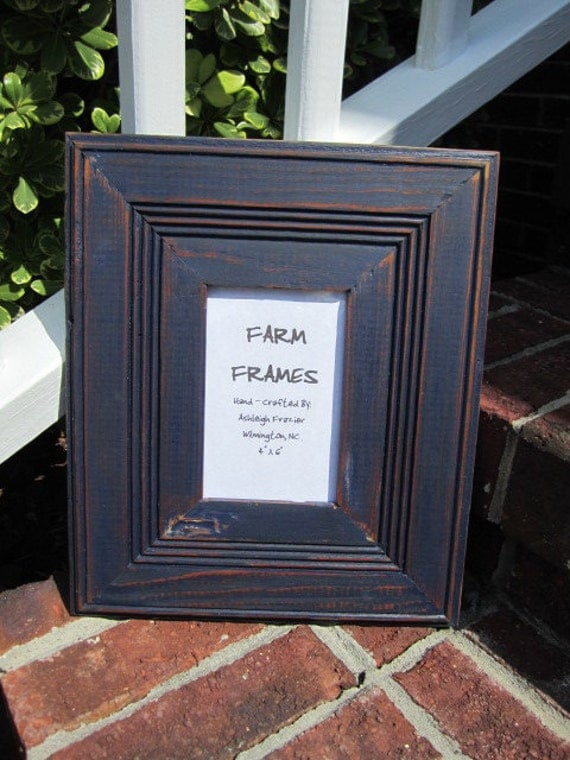 4 x 6 NAVY BLUE old vintage wood picture frame