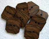 A really pretty lot of 8 Small Exotic Bocote Handcrafted Wooden Buttons....1 inch....2 holes....140