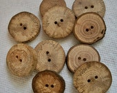 Assorted Wood Buttons..Lot of 10 Medium and Large wooden North Carolina Tree Branch Buttons....79