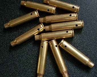 Bullet shell casing pendants, Lot of 10 Brass .223 Bullet Shell Casings, Pre-drilled for your jewelry needs.....Lot 19