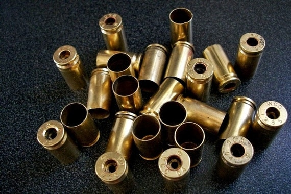 Bullet Shell Casings, 50 Brass 9mm Bullet Shell Casings with the primer removed, For Jewelry and Steampunk or Craft Projects....Lot 67