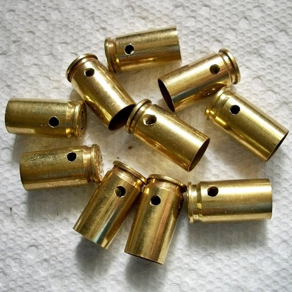 Bullet shell casing pendants, Lot of 10 Brass 9mm Bullet Shell Casings, Pre-drilled for your jewelry needs.....Lot 84