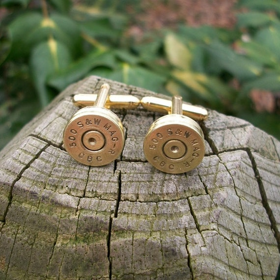 Bullet shell Cufflinks, Smith & Wesson 500 S W Magnum gold cuff links crafted from repurposed shell casings