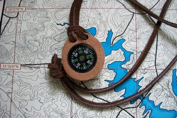 Compass and natural oak tree branch.  Perfect for hikers, hunters, campers, boy scout, girl scouts etc.  Handcrafted....69