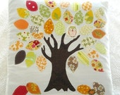 Handmade Appliqued Pillow Cover -Whimsical Autumn Tree