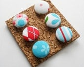Ready to Ship - Red and Turquoise Fabric Covered Push Pin Thumbtack Set