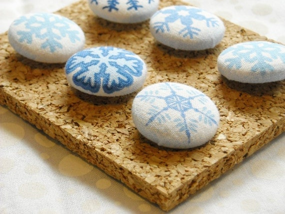 Snowflake Fabric Covered Push Pin Set