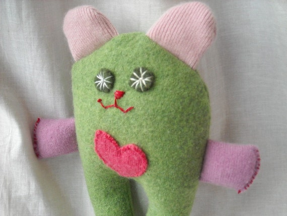 Stuffed Plush Monster repurposed wool with heart