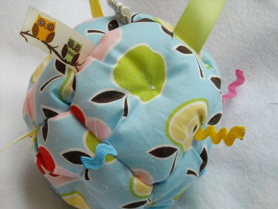 Jumble Ball Baby Toy with ribbon tags and rattle- pears and apples