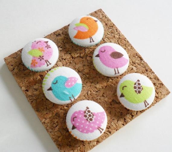 Little Birds Decorative Fabric Covered Push Pin Set