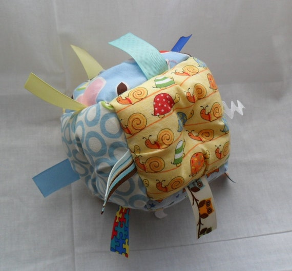 Patchwork Jumble Ball Sensory Baby Toy with ribbon taggies and ratttle