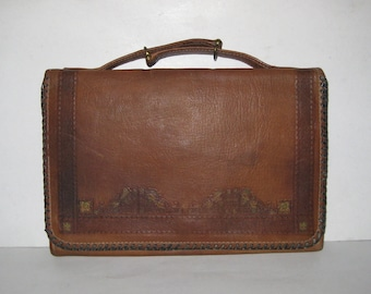 Small Vintage Leather Purse or Handbag With Short Handle