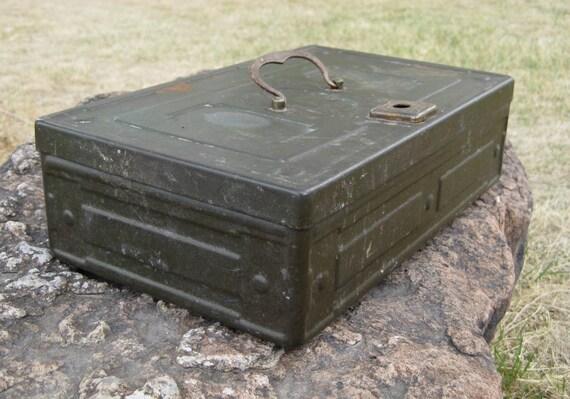 Army Green Metal Storage Box With Brass Hardware