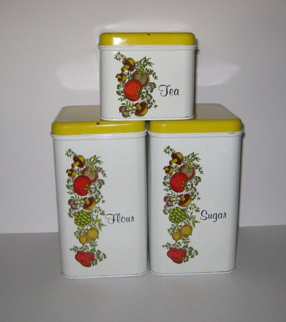 RESERVED For Debra Vintage Cheinco Yellow and White Metal Canisters