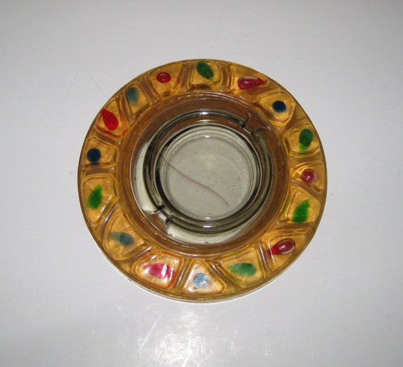 Retro Lucite Yellow Gold Ring Shaped Ashtray With Colorful Embeds