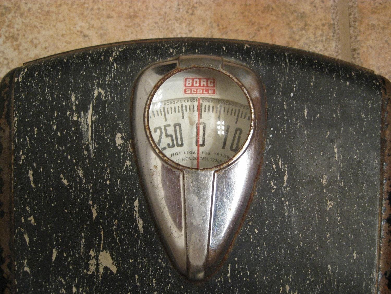 Vintage Borg Black And White Floor Bathroom Scale