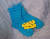 Hand Knit Socks in Turqua 1 pair fits size 7 to 9 Great  Gift
