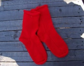 Hand Knit Socks 1 pair US Adult size 7 to 9 in Hot Red Handknit Fabulous Funky Footwear