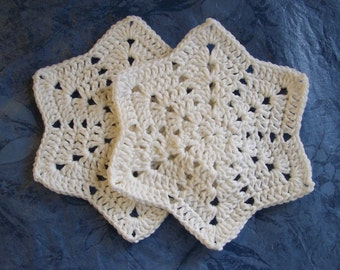 Dishcloths/Washcloths/Babycloths Doilies 2 For 6.5 Dollars WINTER WHITE Pure Cotton Star shape