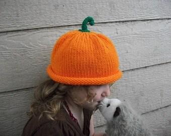 Baby-child Pumpkin  Photo Prop halloween orange fall green stem autumn kids nature harvest vegan unisex boy girl