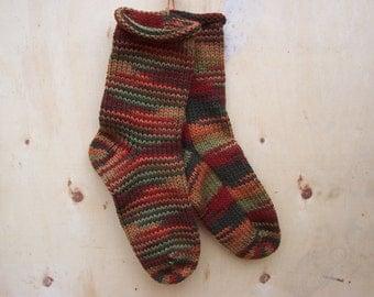 HandKnit Socks Fall Autumn 1 pair fits US adult size 10 to 12 Fabulous Funky Footwear