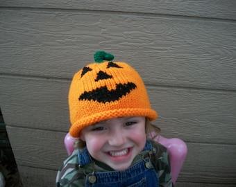 Jack O'Lantern Pumpkin Hat 1 to 5 yrs size Jack O'Lantern Pumpkin Hat photo prop orange black fall autumn halloween kids unisex vegan
