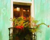 San Juan Window  (Watercolor Print - 8x10 - Puerto Rico - Old Town - Balcony - Wall Decor)