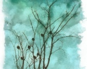 Birds Roosting in Blue (Watercolor Print - 8x10 - Bird Silhouettes - Winter - Fine Art Print - Wall Decor)