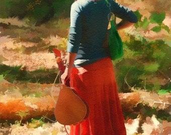 The Mandolin (Pensive - red dress - mandolin - woods - deep thought - wall art - watercolor - Print - female -wall decor)