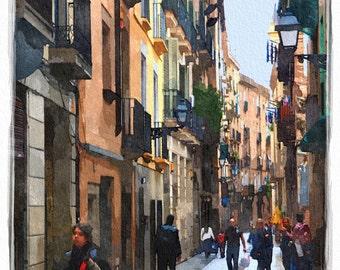 Barcelona Street Scene  (10x14 - Barcelona - Spain - Las Ramblas - Europe - city street - Wall Decor)