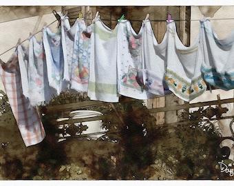 Balcony Laundry (Greece - Watercolor Print - 12 x 7 - Barcelona - Spain - Wash Day - Europe - Fine Art Print - Wall Decor)