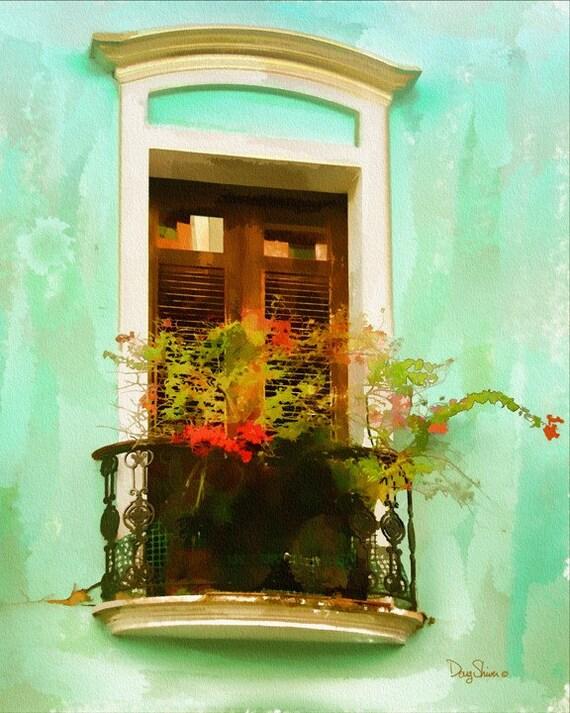 Old San Juan Wall Decor : San juan window watercolor print puerto