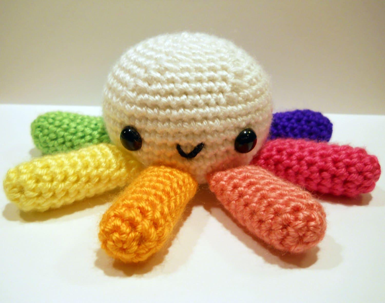 Big Octopus with Rainbow Tentacles Amigurumi Crochet Plushie